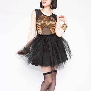 Iron Fist Wishbone Gold Sequin Skeleton Dress XS